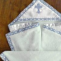 Махровая крыжма для крещения с украинским орнаментом №40-19 с вышивкой голубым ТМ Глаздов