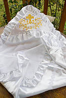 Нарядная крыжма для крещения из махрового полотна и атласа №40-12 с вышивкой золотом (Размер 90*90 см) ТМ Глаздов