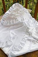 Нарядная крыжма для крещения из махрового полотна и атласа №40-12 с вышивкой серебром (Размер 90*90 см) ТМ Глаздов