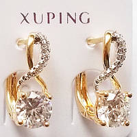 """Серьги """"Престиж"""" с фианитами (прозрачный). Ювелирный сплав, позолота 18К. Xuping Jewelry."""