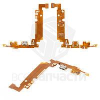 Шлейф LG E610 коннектора зарядки, микрофона с компонентами (high copy)