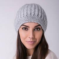 Женская шапка берет светло-серая шерсть, акрил