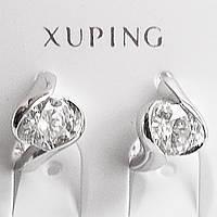 """Маленькие серьги кольца """"Лучик"""" с фианитом. Ювелирный сплав, родий. Xuping Jewelry."""