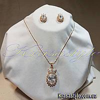 """Серьги + Кулон  """"Золотая корона для алмаза"""""""