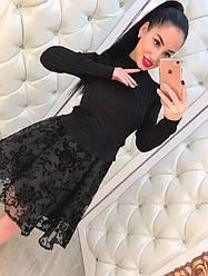 Красивый женский костюм платье органза и свитер только черный