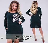 Платье-туника 131 низ асимметрия+отделка пайетки R-13339 хаки