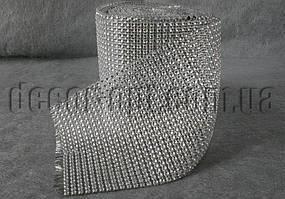 Имитация страз на ленте серебро 12 см/10ярд 24 ряда