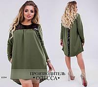 Платье 0134 низ асимметрия+отделка пайетки  R-13354 хаки