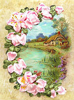 Набор для вышивания лентами Домик в лилиях