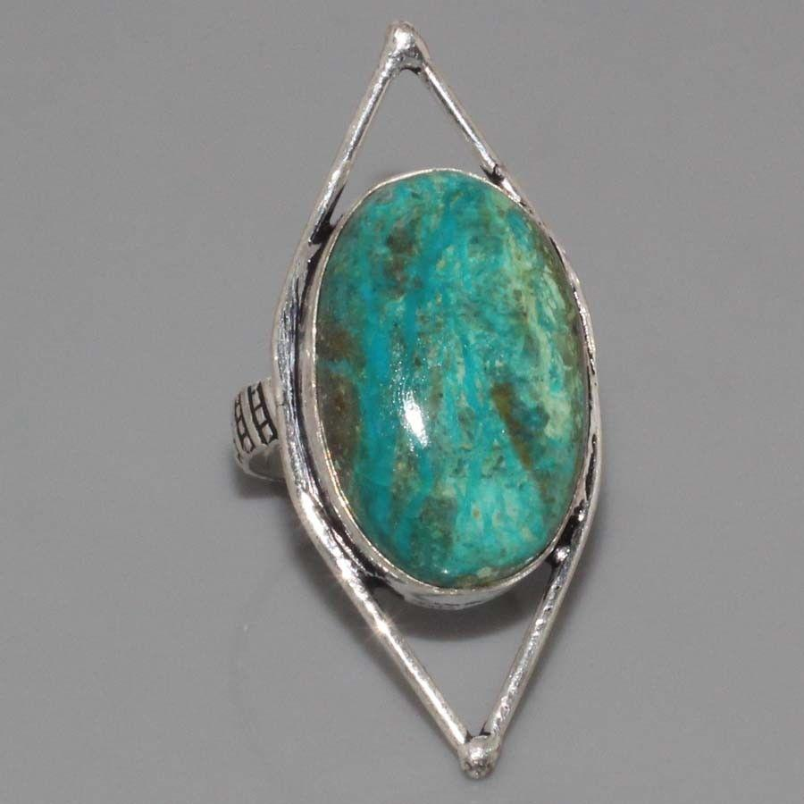 Хризоколла в серебре кольцо с хризоколлой размер 17,5 Индия