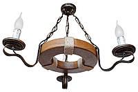 Люстра из дерева Кольцо - Дачное 3 лампы Старая Бронза, Дуб светлый, со свечей