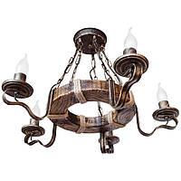 Люстра из дерева Кольцо - Дачное 5 ламп Старая Бронза, Дерево Состаренное темное