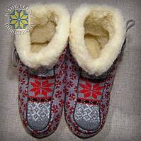 """Чуні """"Сніжинки"""". Домашнє взуття з овечої шерсті."""