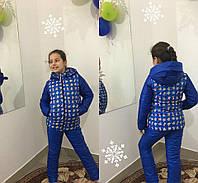 Детский зимний костюм для девочки на синтепоне и флисе