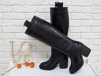 Высокие Сапоги свободного одевания из натуральной кожи черного цвета, на не высоком и устойчивом каблуке,  Коллекция Осень-Зима 2017-2018, М-17356
