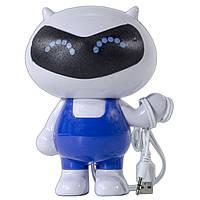 Колонка-робот SMART бело-голубая для компьютера ноутбука музыки универсальная мультимедийная USB 2.0 jack 3.5