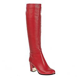 Ботфорты женские Molared (стильные, чорвоного цвета, на удобном каблуке, кожаные)