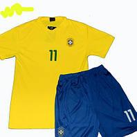 Детская (5-10 лет) футбольная форма без номера - сборная Бразилии - желто-синяя, основная