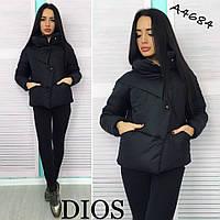 Куртка женская Стильная дутая чёрная