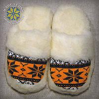 """Жіночі тапочки з овчини """"Сніжинка"""" (теплі, кімнатні), фото 1"""