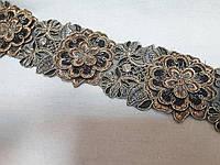 Тесьма декоративна, вишита люрексом меланж 5,5 см,  3D вишивка