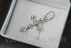 Крестик серебряный маленький с камнями