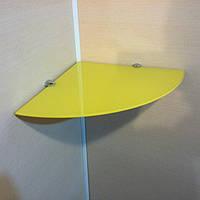 Полка стеклянная угловая 6 мм жёлтая 25×25 см