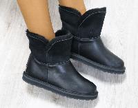 Полусапоги УГГИ женские кожаные черные, натуральная дубленка