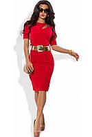 Офисное красное платье с поясом