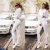 Стильный белый женский спортивный костюм дайвинг+бархат. Арт-15114
