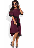 Асимметричное деловое платье цвета марсала