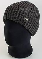 Утепленная мужская шапка с отворотом