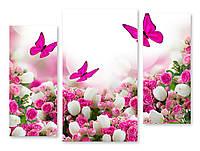 Модульная картина бабочки и цветы
