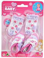 Аксессуары для пупса, обувь в клеточку и носки, New Born Baby (556 0844-3)