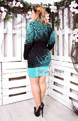 женская вязаная туника платье бирюза больших размеров майя 485 грн