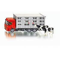 Авто для перевозки животных + 2 коровы Siku