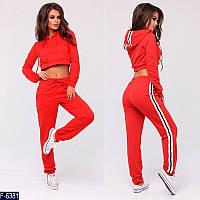 Стильный красный с капюшоном и с короткой кофтой женский спортивный костюм  двунитка Арт-15116 8ca8c42aa05
