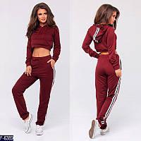 Стильный бордовый с капюшоном и с короткой кофтой женский спортивный костюм  двунитка Арт-15116 066124d1a5b