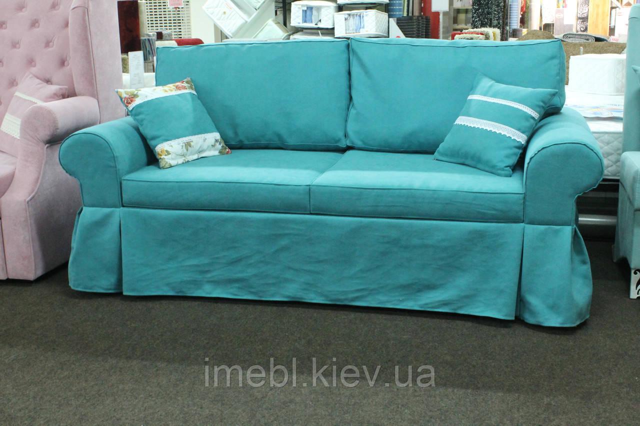 Мягкая кухонная мебель с местом для сна в ткани голубого цвета