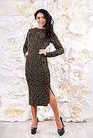 Женское вязаное платье миди ВП-1094  Тон 32