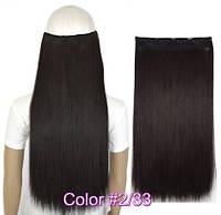 Трессы прямые ровные на заколках 60см темно-коричневые волосы №2/33