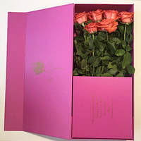 Подарочная коробка под цветы сборная на магнитах