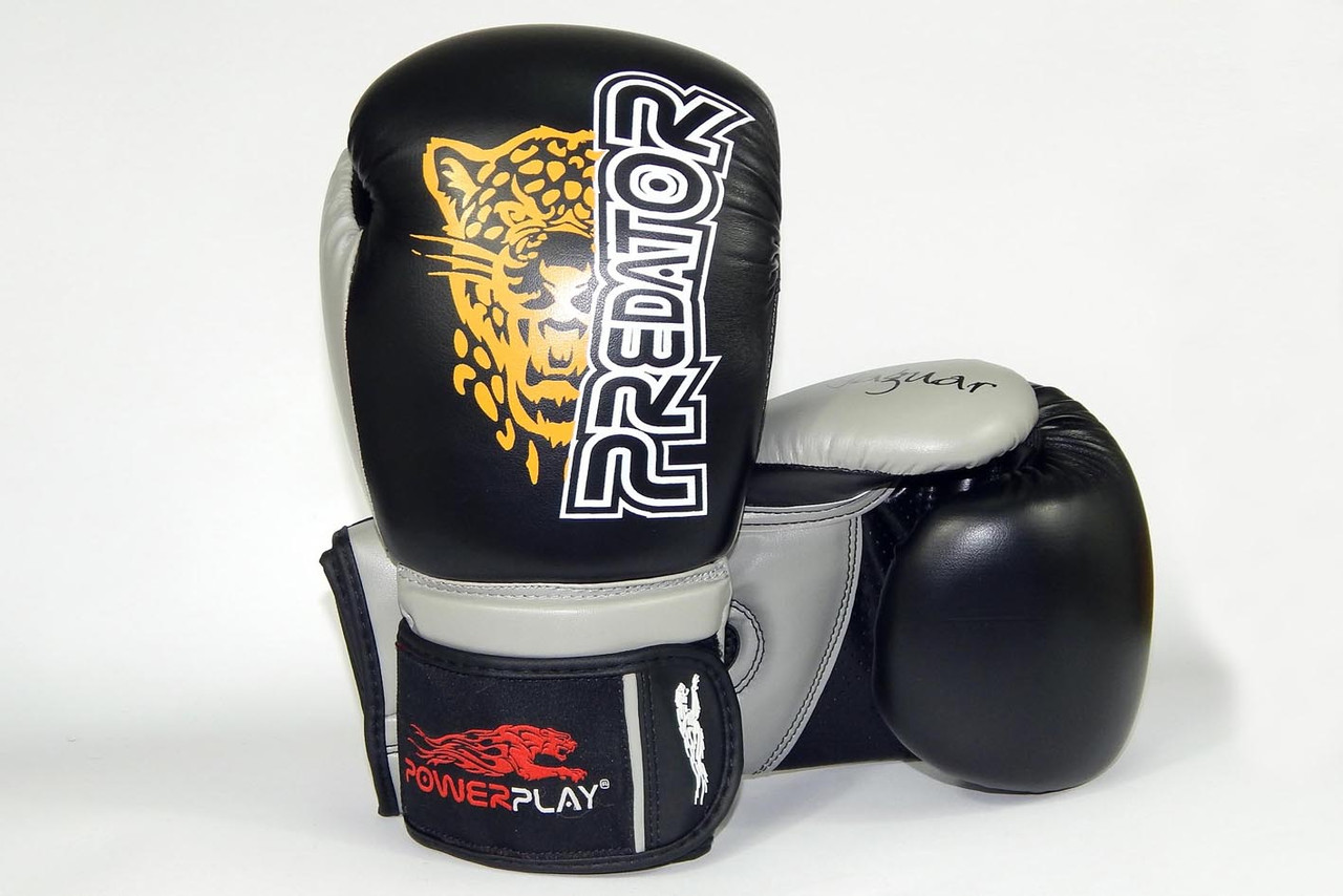 Перчатки боксерские Powerplay 3008 / Jaguar /PU / black 12oz