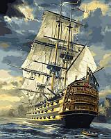 Рисование по номерам (цветной холст) DIY Babylon Premium Военный фрегат (NB181) 40 х 50 см