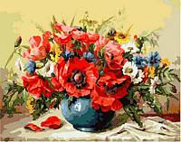 Картина по номерам (цветной холст) DIY Babylon Premium Маки с полевыми цветами (NB294) 40 х 50 см