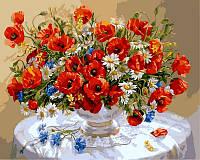 Картины по номерам Маки в вазе (NB324) 40 х 50 см (цветной холст) DIY Babylon Premium