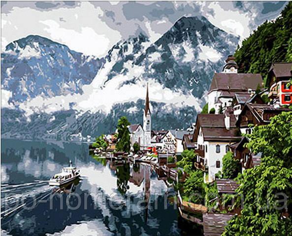 Картина по номерам (цветной холст) DIY Babylon Premium Швейцарские Альпы (NB352) 40 х 50 см