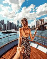 Рисование по номерам (на цветном холсте) DIY Babylon Premium Следуй за мной Пролив Ист-Ривер, Нью-Йорк (NB714) 40 х 50 см