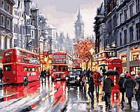 Картины по номерам Лондон Автобусы ночного города (NB763) 40 х 50 см (на цветном холсте)