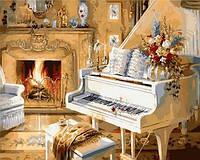 Рисование по номерам (на цветном холсте) DIY Babylon Premium Белый рояль (NB921) 40 х 50 см